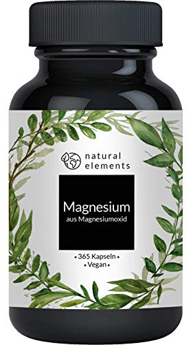 Magnesium - 365 Kapseln - 665mg, davon 400mg elementares Magnesium pro Kapsel - Laborgeprüft, hochdosiert, vegan