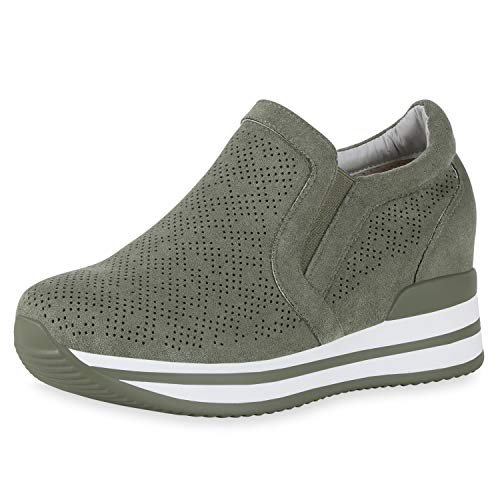 SCARPE VITA Damen Sneaker Wedges Keilabsatz Schuhe Cut Out Slip Ons Keilsneaker Plateau Freizeitschuhe Profilsohle Turnschuhe 190362 Olivgrün 38