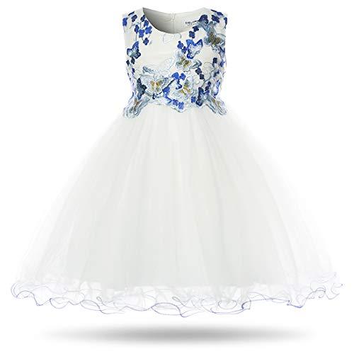 CIELARKO Vestito Ragazza Bambina Farfalla Cerimonia Elegante Smanicato Principessa Abiti (2-3 Anni, Bianco)