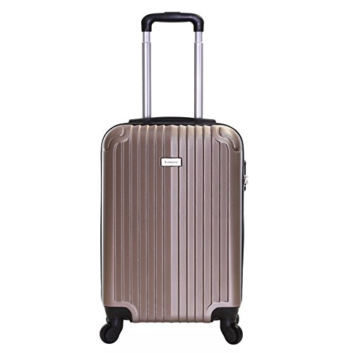 Slimbridge Hard Cabin Hand Carry-on Suitcase Luggage Bag 55 cm 2.5 kg 35 litres 4 Wheels Number Lock, Borba Champagne