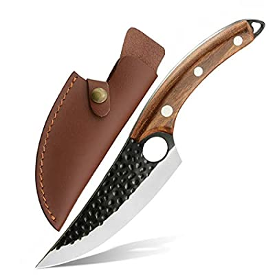 Boning Knives with Sheath and Gift Box Hand Forged Butcher Knife Fillet Meat Cleaver Knives Full Tang Kitchen Chef Knifes for Home, Camping, BBQ,Tactical (A-Boning Knife)