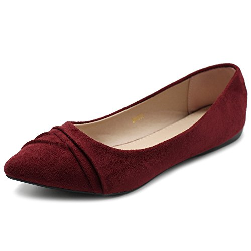 Ollio Womens Shoe Ballet Dress Faux Suede Pleated Pointed Toe Flat 1BN1833 (8.5 B(M) US, Burgundy)