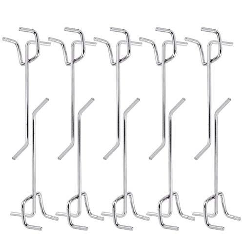 DOITOOL 50 piezas Ganchos para tableros con agujeros de Metal ganchos para estanterías y organizador de garaje gancho de colgar accesorios pegboard tableros de clavijas (10 x 2,5 x 3 cm)