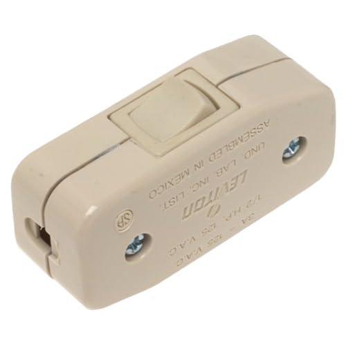 White Leviton 5410-W 3Amp 125V Heavy Duty Feed Thru Rocker Appliance Switch