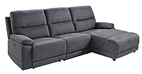 lifestyle4living Ecksofa in Grauem Webstoff mit Relaxfunktion | Relaxsofa elektrisch verstellbar | Gemütliches L-Sofa in modernem Look