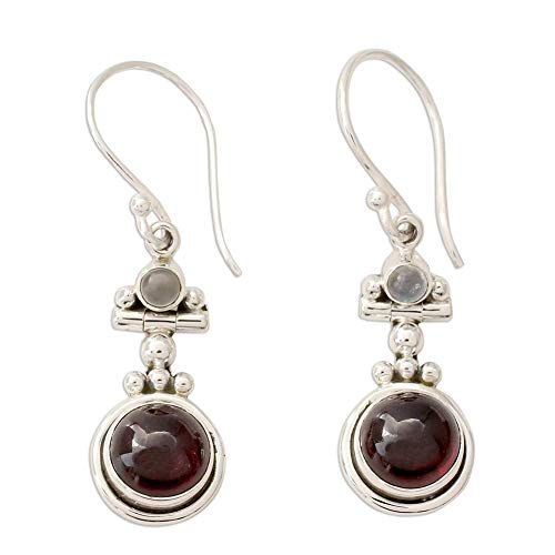 Vintage Thai Silver Faux Ruby Drop Dangle Hook Earrings Party Banquet Women Jewelry Gift,Colour Name:Red Bracelets Earrings Rings Necklaces (Color : Red)