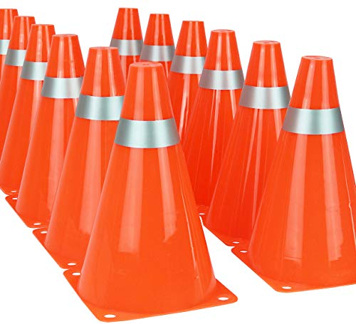 7 Inch Traffic Cones Soccer Drills Sport Training Orange Cones for Kids (Set of 12)