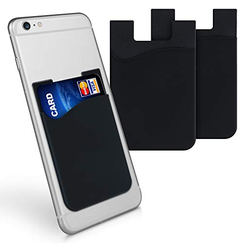 kwmobile 3x Porta carte di credito per Cellulare - Tasca Adesiva in Silicone per Tessere Carte Badge - Taschino Autoadesivo per Cover - nero 8,5x5,5cm