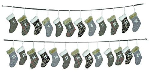 Adventskalender zum Befüllen aus Stoff   340cm Weihnachtsgirlande mit Adventskalender Säckchen-Socken   Weihnachtskalender für Kinder & Erwachsene   Geschenk-Kalender als Weihnachts-Deko   Weihnachten