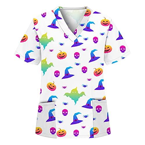 Briskorry Ropa de trabajo de Halloween para mujer, multicolor, cuello en V, estampado, ropa de trabajo de manga corta, uniformes con bolsillos, Blanco, L