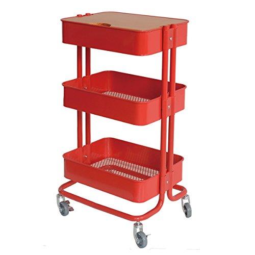 キッチン収納 3段キッチンワゴン 天板&キャスター付き サイドテーブル スチールラック ベビーワゴン カラ...