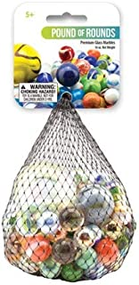Mega Marbles - Assorted Colored Glass Marbles, Pound of Rounds, - Net Includes 1Lb of Marbles
