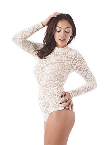 Khanomak Women's Long Sleeve All Lace Mock Neck Bodysuit (XLarge, Beige)