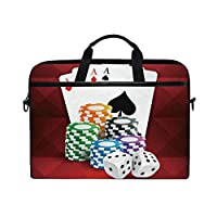ポーカープレイカードラップトップショルダーバッグノートブックコンピュータハンドバッグケースメッセンジャーバッグは13-15.4で男性女性に適合します