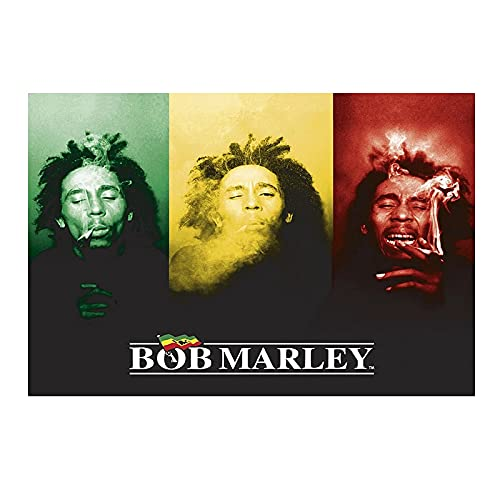 Ignite Wander Poster & Drucke Wandkunst Bob Marley - Flagge Leinwand Gemälde Für Wohnzimmer Wohnkultur -60x80 cm Kein Rahmen 1 STÜCKE