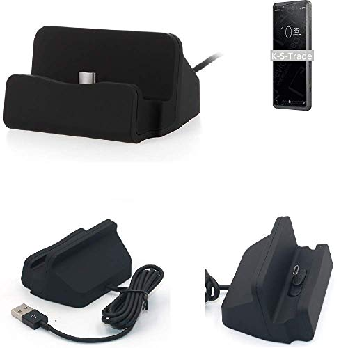 K-S-Trade Dockinsgstation Für Sony Xperia Pro Ladestation Dock Ladegerät Docking Station Inkl. USB Typ C Kabel Schwarz