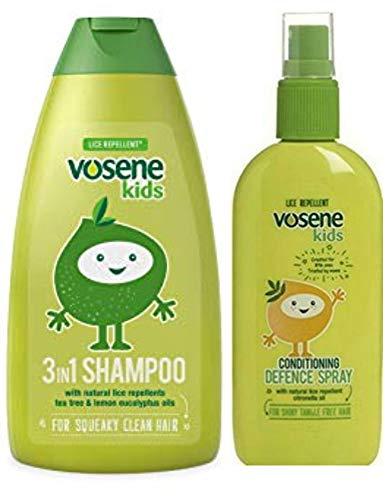 Vosene Kids - Shampoo repellente per pidocchi 3 in 1, 250 ml, con balsamo spray difensivo, 150 ml