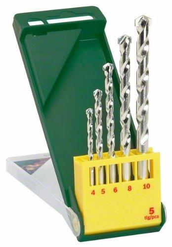 Bosch Professional 2607019438 Bosch 2607019438-Set con 5 Brocas para Piedra, Verde/amarillo