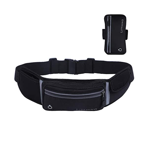 2 in 1 Running Belts Sports Armbands Water Resistant Belt Fanny Pack for Hiking Fitness...