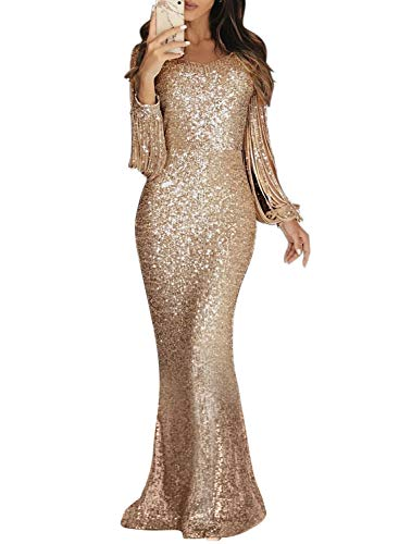 Dokotoo Damen Kleid Festliche Kleider Brautjungfer Hochzeit Cocktailkleid Quaste Elegant Langes Abendkleid Gold L (EU44-EU46)