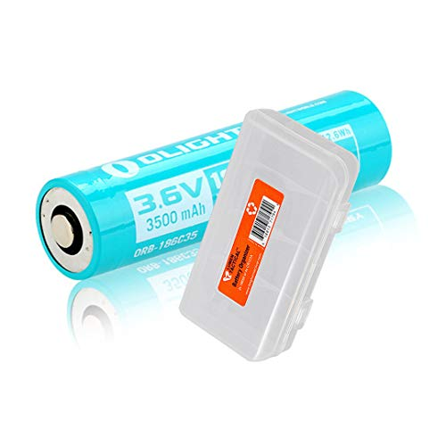 OLIGHT 186C35 Customized Rechargeable Battery for S30R II, S30R III, S2R II, Warrior MINI 2 Flashlight and H2R, Perun Headlamp, with LumenTac Battery Organizer