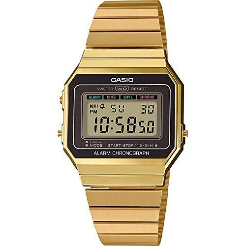 Casio Reloj Mujer de Digital con Correa en Acero Inoxidable A700WEG-9AEF