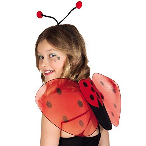 Amakando Süße Marienkäferchen Set mit Flügel und Haarreifen / Rot-Schwarz 25x63cm / Käfer Kostüm-Accessoire für Kinder / EIN Blickfang zu Kinder-Karneval & Kinderfest