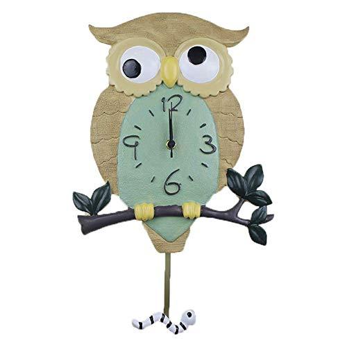 wall clock Hibou Oiseau Horloge Murale Résine Quartz Bell Sourdine Swing Protection De l'environnement Décoration Pépinière Chambre Étude