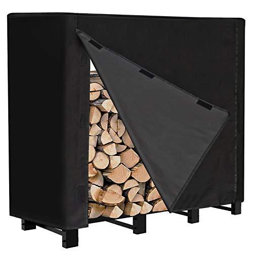 INMUA Firewood Rack Cover4 Feet Log Rack Cover Heavy Duty 600D Wood Rack Cover Waterproof Wood Covers for Firewood Black