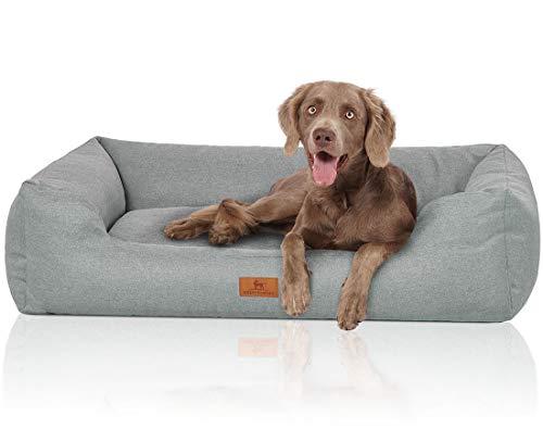 Knuffelwuff Velours Hundebett Emma mit feiner handgewebter Materialoptik in Pastellfarben XXL Groß 120x85cm Blaugrün