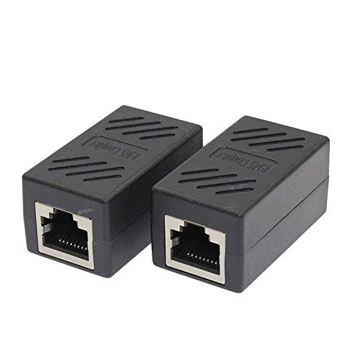 RJ45 LANケーブル用中継コネクタ RJ45 延長 アダプタ コネクタ メス-メス LANケーブル 延長コネクタ ギガビット 対応 8P8C コンパクト LY-19A01 (2個セット)