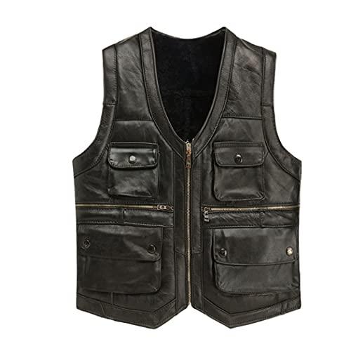 Chaleco de la motocicleta del cuero de la piel de oveja real para los hombres, chaqueta de invierno de la capa de cuero negro marrón