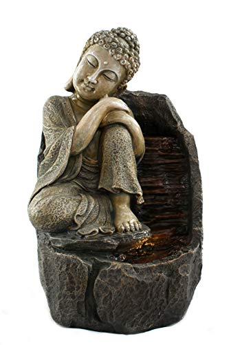 DARO DEKO Brunnen-Set mit Stromstecker und Pumpe Buddha sitzend 31cm x 49cm