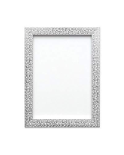 Flacher heller/Spiegeleffekt/ Mosaik Bilderrahmen/Foto-/Posterrahmen - Mit Rückseite aus MDF - Mit bruchsicheren Plexiglas aus Styrol für hohe Klarheit - 10 x 8 zoll - Silber Bling