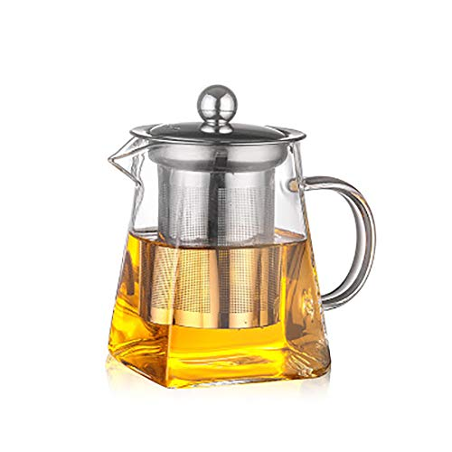Demarkt glazen theeset, roestvrij staal, met filter, hittebestendige glazen kan, kleine vierkante theepot