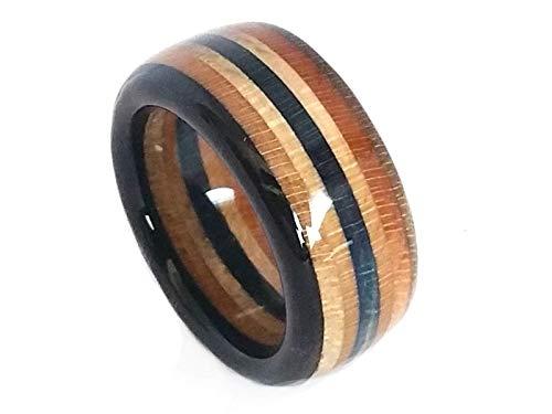 Upcycling Skateboard Ring Breite 9,5 mm Acryl versiegelt, Ringgröße 48 bis 74