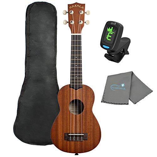 Makala Soprano Ukulele by Kala MK-S Bundle with a Tote Bag, Tuner and Lumintrail Polishing Cloth