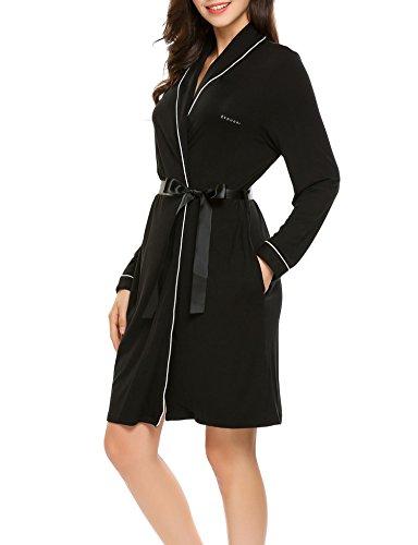 Ekouaer Women's Cotton Bathrobes Soft Kimono Robe Knee Length Spa Robe...