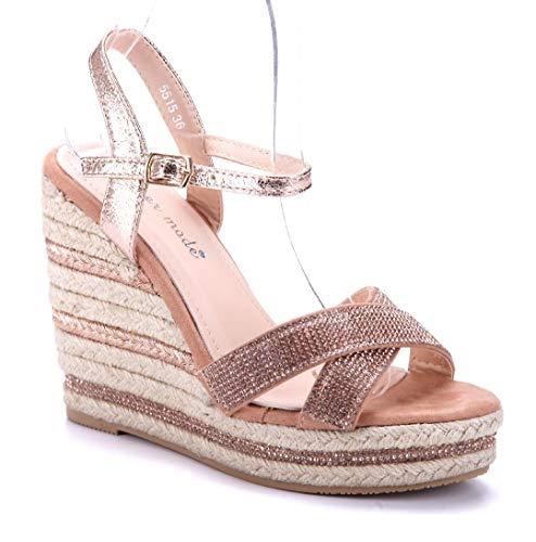 Schuhtempel24 Damen Schuhe Keilsandaletten Sandalen Sandaletten Bronze Keilabsatz Ziersteine 12 cm High Heels