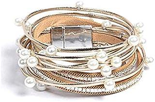 Artilady wrap Pearl Leather Bracelet for Women