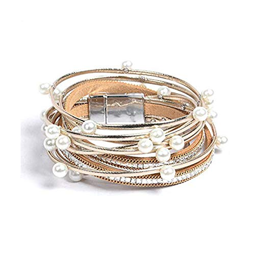 Artilady Leather Wrap Bracelet for Women - Handmade Clasp Bangle Bracelet with Pearl Beads Crystal Wristbands Jewelry Gift for Sisters, Teen Girls and Mother gold
