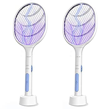 Bug Zapper 2 Pack VANELC USB Rechargeable Electric Fly Swatter Lamp & Racket 3000 Volt Pest Insects Control Flying Bugs Trap Mosquito Killer for Home Kitchen Office Outdoor