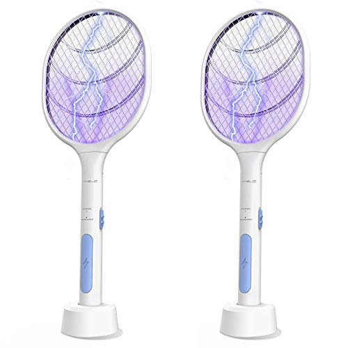 VANELC Bug Zapper 2 Pack, Mosquito Killer Mosquitoes Lamp & Racket 2 in 1, Electric Fly Swatter, USB Rechargeable, Insect and Flying Bugs Trap for Home and Outdoor Powerful Grid 3-Layer Mesh
