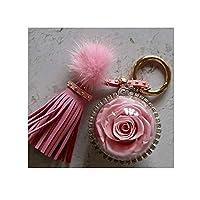 保証花永遠の花キーホルダーローズバッグペンダント誕生日クリスマスプレゼントピンク+ギフトボックス