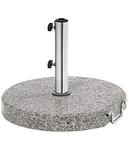 Dehner Sonnenschirm-Ständer, rund, Ø ca. 50 cm, Höhe ca. 6.7 cm, 30 kg, Granit/Edelstahl, grau/schwarz/Silber
