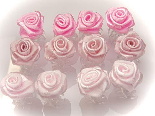 OiA 12 Stück Haarspangen mit Rosen   Haarschmuck für Frauen, Kinder, Haarnadeln, Blumen für Frisuren   Farbe: 3 Schattierungen von Rosa