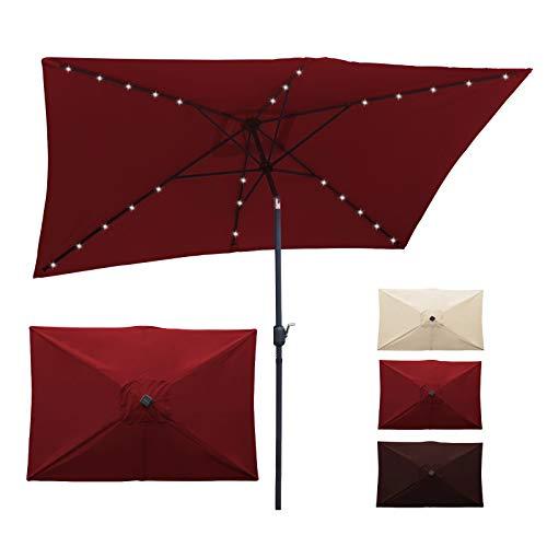 SUNLAX Maroon Rectangle Patio Umbrella,6.5x10ft Led Market Table Umbrella with Push Button Tilt and Crank.