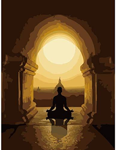 HAO Pintura de Yoga Budista por Kits de números Patrón preimpreso DIY Pintura Digital Hecha a Mano para Colorear sobre Lienzo Usted Mismo 40x50cm Sin Marco