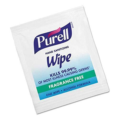 GOJO PURELL Premoistened Sanitizing Hand Wipes, 5 x 7, 100/Box