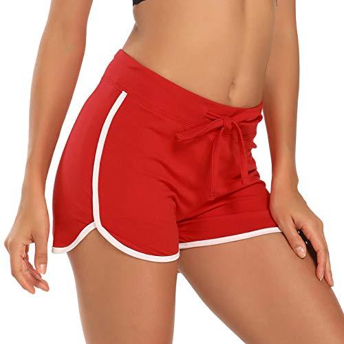 HDE Women's Retro Fashion Dolphin Running Workout Shorts (Red, Medium)